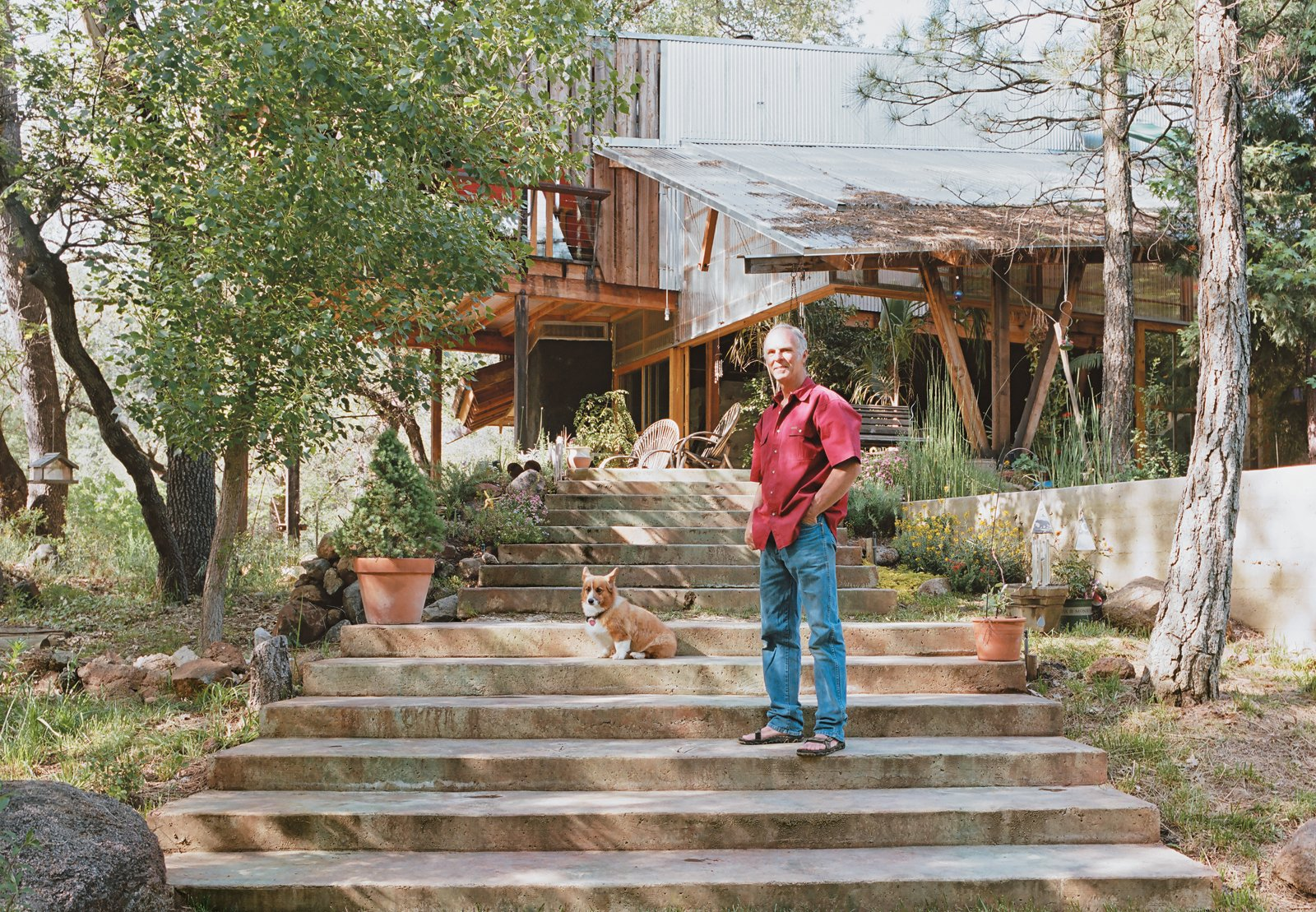"Architect and builder Ken Meffan lives in Rough and Ready, California, a tiny town in the foothills of the Sierra Nevada mountains. ""Rough and ready"" also describes his take on domestic bliss: Meffan, 56, is known for his rugged, modern houses in the High Sierra. But when it came to creating his own homestead, he, his wife, Sue, and their four kids roughed it for over a decade (two years in a tent and nine in a workshop) while he built his family's home by hand. Diamond in the Rough (and Ready) - Photo 1 of 13"