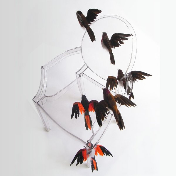 Reiko Kaneko's chair features a flock of birds in flight.