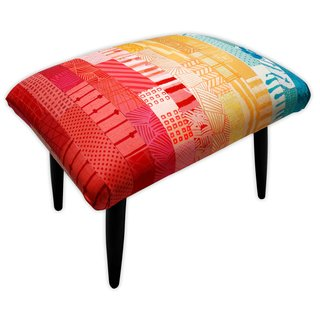 Live from London: Zoe Murphy - Photo 3 of 7 - The Patchwork Footstool, which is covered in hand-dyed silk garnered from old wedding dresses.