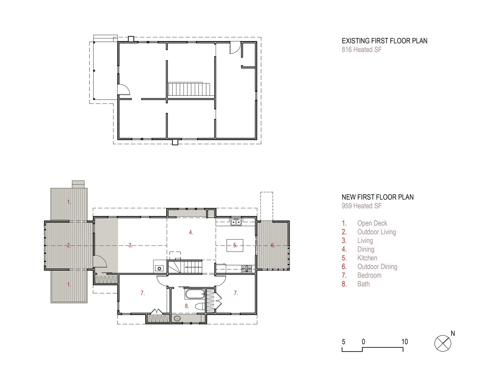 "The first floor plan for ""Farmhouse Redux"" adds to the original footprint two porches and two ""bump-outs,"" or saddlebags, for additional interior space. Farmhouse Redux - Photo 3 of 13"