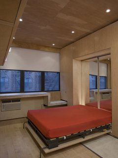 Domestic Ribbon - Photo 3 of 9 - The Murphy bed in its pulled-down state is backed by mirrors from Sergi's Images Mirrors & Glass to help bounce light from the north-facing windows around the apartment. A cabinet hung at the upper left provides more storage.
