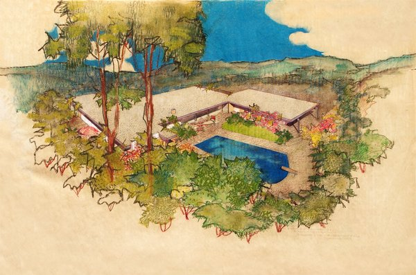 Richard Neutra: Aerial Perspective Rendering, Hammerman Residence, Bel Air, California, 1954