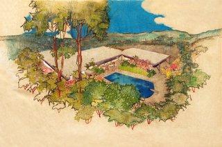 Events this Weekend: 10.8-10.11 - Photo 2 of 4 - Richard Neutra: Aerial Perspective Rendering, Hammerman Residence, Bel Air, California, 1954