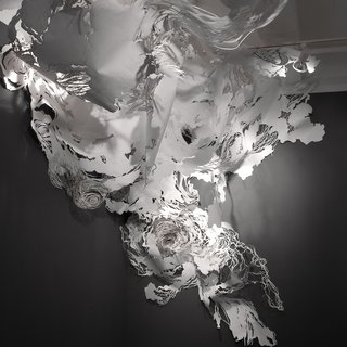 Mia Pearlman, EDDY, 2008. Paper, India ink, paperclips, tacks and monofilament. Photograph by Jason Mandella. Image courtesy Museum of Arts and Design.