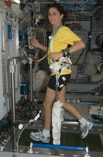 Space Living: Astro Home - Photo 18 of 32 - NASA astronaut Nicole Stott, Expedition 21 flight engineer, equipped with a bungee harness, exercises on the Combined Operational Load Bearing External Resistance Treadmill (COLBERT) in the Harmony node of the ISS. Photo taken October 20, 2009. Image courtesy of NASA.