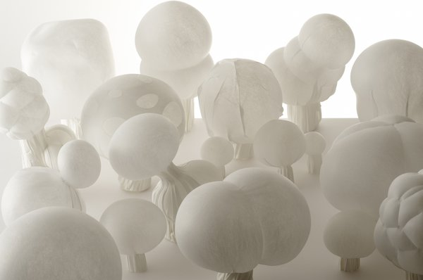 "Starting this week, New York's Museum of Arts and Design will cede control of its second-floor MADProjects Gallery to Nendo, a Tokyo-based studio known for its clever, subversive updates to traditional design concepts. ""Blown-Color"" is an assembly of one-of-a-kind lamps made from Smash, a special polyester fabric that can be manipulated into different forms when heated and that retains its shape when cooled. The group created a series of lights in the style of vernacular Japanese chochin paper lanterns, but, rather than the traditional bamboo frame, the properties of Smash allowed Nendo to shape it like blown glass in one seamless piece. Image courtesy Masayuki Hayashi."
