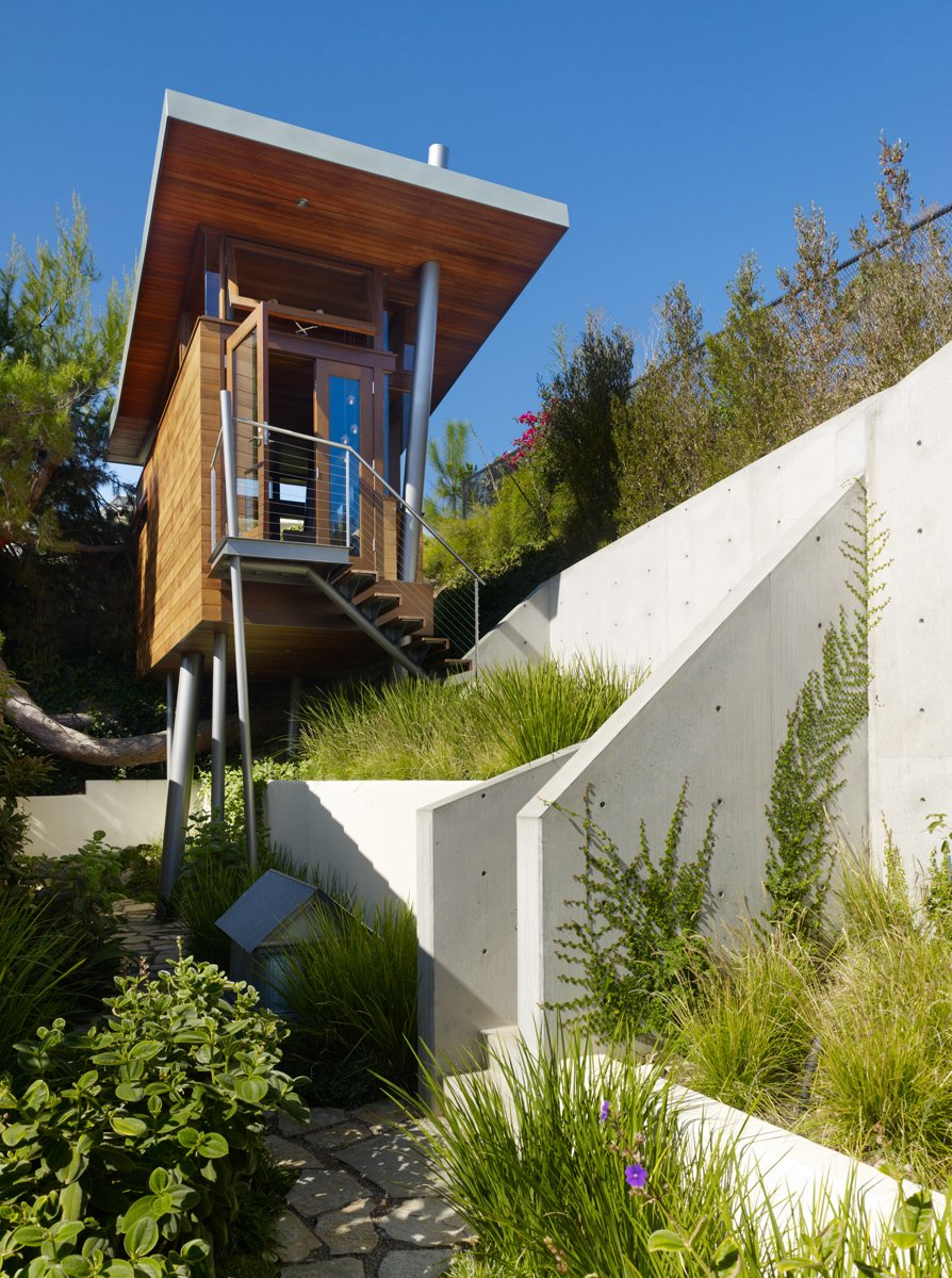 The treehouse is perched on a hill that offers canyon vistas and views of downtown L. A. and the Getty Museum.