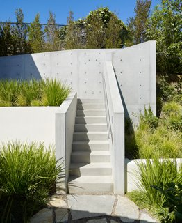 An Atypical Tree House - Photo 5 of 11 - The entry and stairs to the tree house complex was sculpted from exposed, unpainted concrete, designed to suggest the ladder of a traditional tree house.