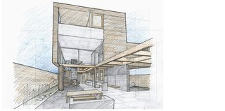Events this Weekend: 10.29-11.1 - Photo 3 of 3 - Drawing of the Butler House in Portland, Oregon, designed by PATH Architecture. The house will be included on the tour.