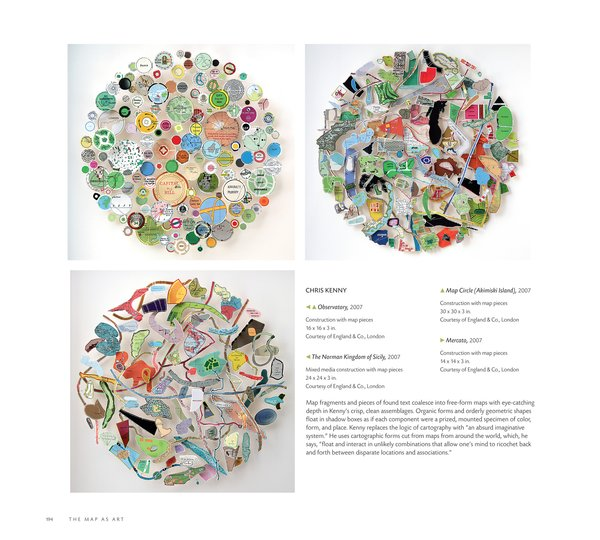 Works by Chris Kenny in The Map as Art: Contemporary Artists Explore Cartography by Katerine Harmon, Published by the Princeton Architectural Press
