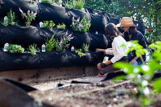 Gardener Christy Wilhelmi helps a student plant her Woolly Pocket at one of the edible schoolyards created by Woolly Pocket and School Nutrition Plus.<br><br>Photo by <br><br>Suthi Picotte