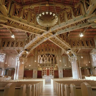 """The First Church of Christ, Scientist in Berkeley, California was designed by Bernard Maybeck and, as Davis puts it: """"was one of America's most magnificent houses of worship, an organic modern expression of medieval religious romance that resembles nothing so much as a Rohirrim temple hall from the set of Peter Jackson's Lord of the Rings."""""""
