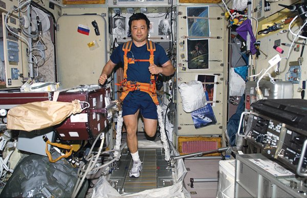 "Space life doesn't differ much from the daily grind on Earth—–it just demands more attention. Leroy Chiao's daily workout requires tying on both sneakers and <br><br>a bungee harness before putting in miles on the TVIS (""treadmill vibration isolation system""). Image courtesy of NASA."