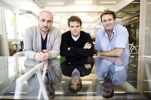 KiBiSi founders (left to right) Lars Holme Larsen, Bjarke Ingels, and Jens Martin Skibsted.