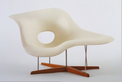 Full Scale Model of Chaise Longue (La Chaise), 1948, by Charles and Ray Eames.