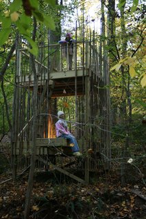 "Baltimore Tree House - Photo 5 of 10 - ""The girls use it all the time,"" Stubb says. ""There are ropes tied to it and they climb the rope ladder or use a swing to climb down into the adjacent ravine. Abigail plays house and makes food with mud and leaves."" Abigail isn't the only one serving up a meal in the house: Laurie and Peter have been able to enjoy drinks and entertain guests out there, too.Photograph courtesy of Laurie Stubb."