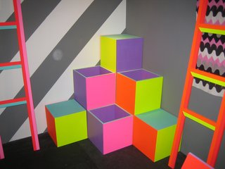 These bright blocks and non-functioning ladders came from artist Ben Jones shown by Johnson Trading Gallery.