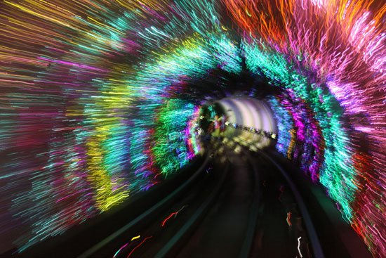 The Bund sightseeing tunnel. Image courtesy Flickr user  Erwyn.