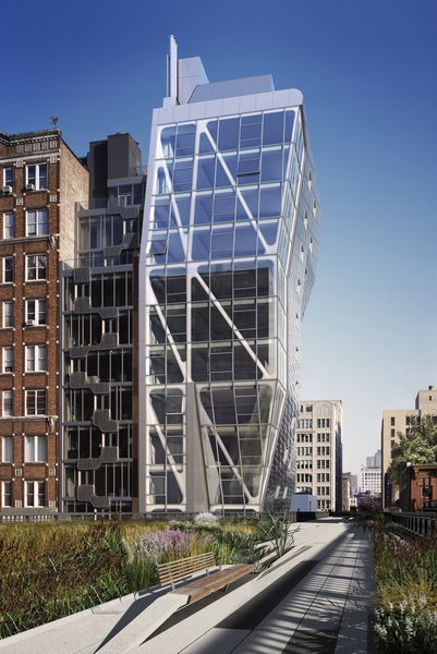"""Completed by Neil M. Denari Architects in 2009, HL23 is a 14-floor condominium tower adjacent to The High Line at 23rd Street in New York. Collaborating architect Marc I. Rosenbaum writes: """"The project's geometry is driven by challenges to the zoning envelope on the site and by NMDA's interest in achieving complexity through simple tectonic operations.""""Photo courtesy of <br><br>Hayes Davidson"""