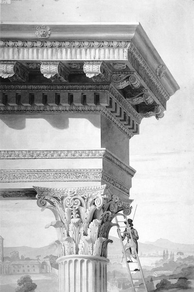 This drawing taken from Roman Forum by David Watkin is by Henry Parke (c. 1810) and shows a student of architecture climbing up to the top of the Temple of Castor and Pollux, measuring rod in hand. The drawing shows an idealized temple, not the ruin that Parke would actually have seen.