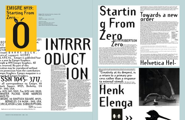Emigre No. 70, book spread showing images from issue no. 19