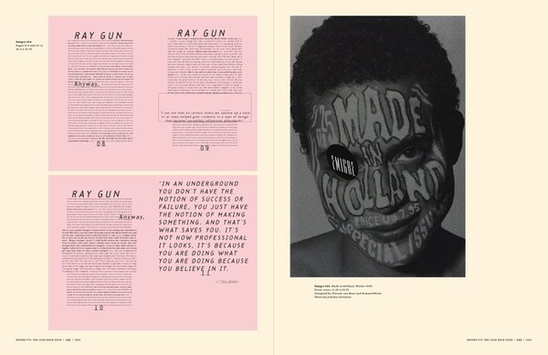 Emigre No. 70, book spread showing images from issue no. 24