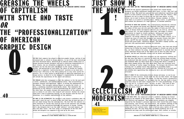 Emigre No. 70, book spread showing reprints from issue no. 43