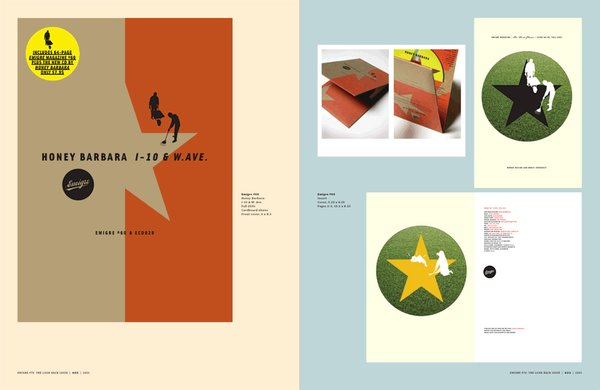 Emigre No. 70, book spread showing scaled reprints from issue no. 60