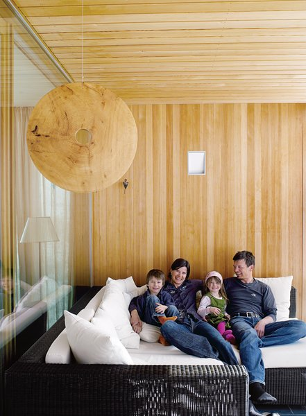 A sun porch off the main living room is one of the family's favorite parts of the house.
