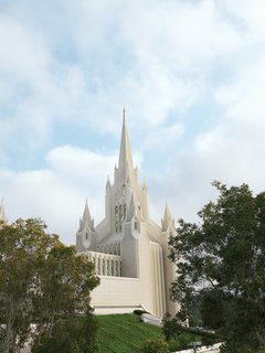 The San Diego California Temple, conceived by architects William S. Lewis, Jr., Dennis Hyndman, and Shelly Hyndman, opened to the public in 1993.