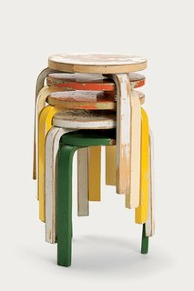 Tom Dixon - Photo 8 of 8 - A stack of painted and worn Stool 60s, perhaps one of the most popular pieces from Artek's archive, given new life in the 2nd Cycle series.