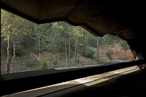 A view from the interior of the winery reflects RCR's architectural philosophy of creating buildings in reaction to existing features of the landscape, revealing new dimensions to the topography of the site.