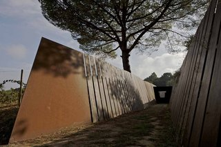 La Bodega Winery in Palamos, Spain - Photo 6 of 9 - RCR was inspired by the steel sculptures of Richard Serra, and by the layers of space and vegetation found in traditional Japanese Zen gardens.
