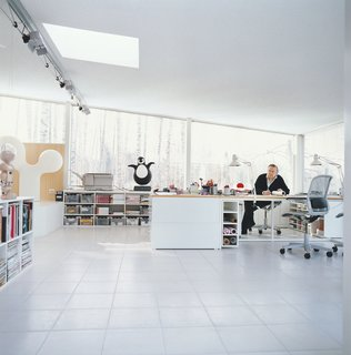 Furniture Designer Focus: Eero Aarnio - Photo 8 of 13 - Roll of tracing paper in hand, Aarnio contemplates his next move in his home office addition.