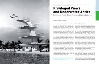 Miami Modern Metropolis - Photo 1 of 13 - This spread, designed by Giampiero Caiti, shows the high dive at the McFadden Dauville Hotel on Miami Beach. Rocco Ceo and Allan T Shulman's essay discusses the intersection of modern design and the thriving aquatic culture of America's favorite beach town.