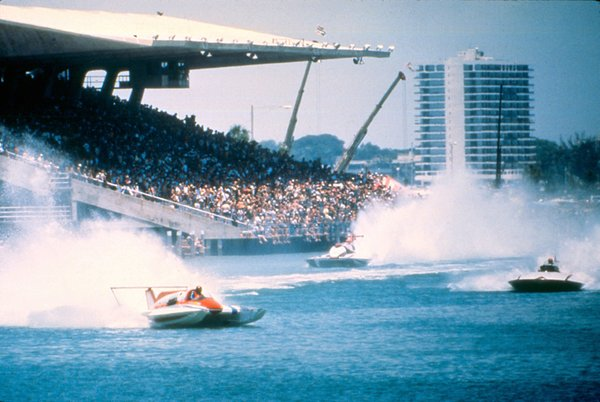Boat racing at Miami Marine Stadium, designed by Hilario Candella, was a popular spectator sport. Today the stadium is an imperiled modern masterpiece.