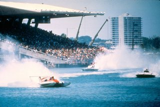 Miami Modern Metropolis - Photo 3 of 13 - Boat racing at Miami Marine Stadium, designed by Hilario Candella, was a popular spectator sport. Today the stadium is an imperiled modern masterpiece.