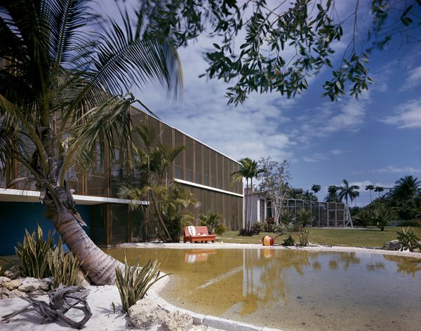 The Birdcage House by Igor Polevitzky in Biscayne Island, with its massive screened facade, was directly inspired by Marcel Breuer's experiments in regional modernism in Massachusetts.