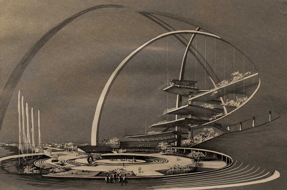 This rendering of the Center for the Americas (Interama) by Spillis, Candella, DMJM shows a building and world's fair that was meant to unite the Americas.  Photo 13 of 13 in Miami Modern Metropolis
