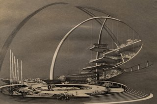 Miami Modern Metropolis - Photo 13 of 13 - This rendering of the Center for the Americas (Interama) by Spillis, Candella, DMJM shows a building and world's fair that was meant to unite the Americas.