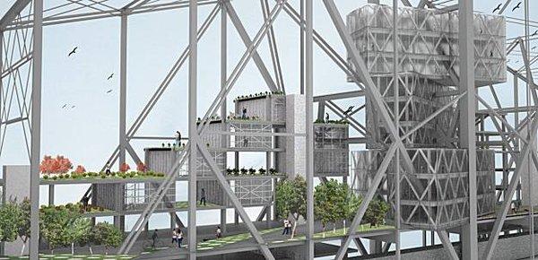 UC Berkeley student David Dana's design includes community gardens, housing and a nine-story hotel. Image courtesy SFgate.com