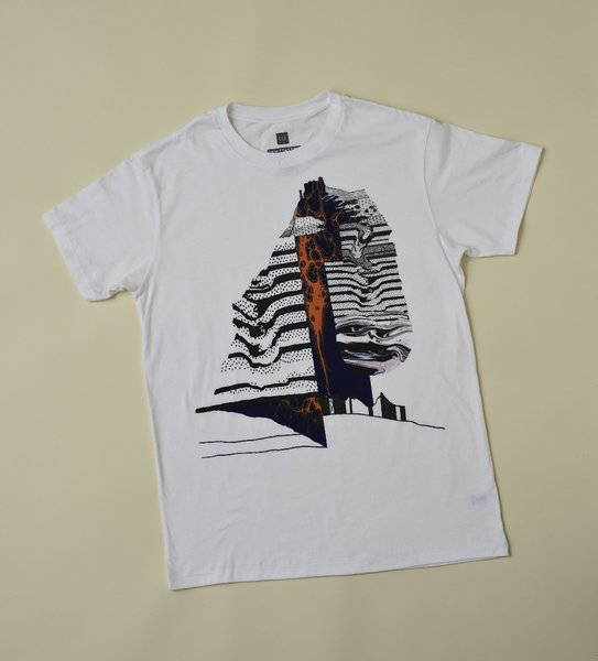 Leslie Shows is another of the young artists included in the series of t-shirts, this one an undulating, oozing image that seems to owe a debt to San Francisco's strong psychedelic tradition.