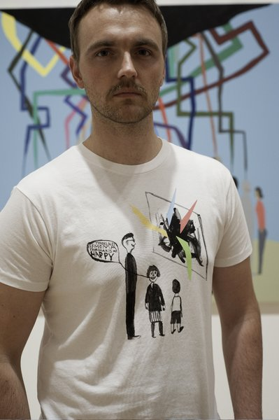 Chris Johanson's addition to the collection of eight shirts most explicitly references the museum's birthday.
