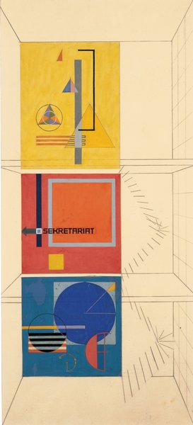Wall-painting design for the stairwell of the Weimar Bauhaus building by Herbert Bayer. Image courtesy of Museum of Modern Art.