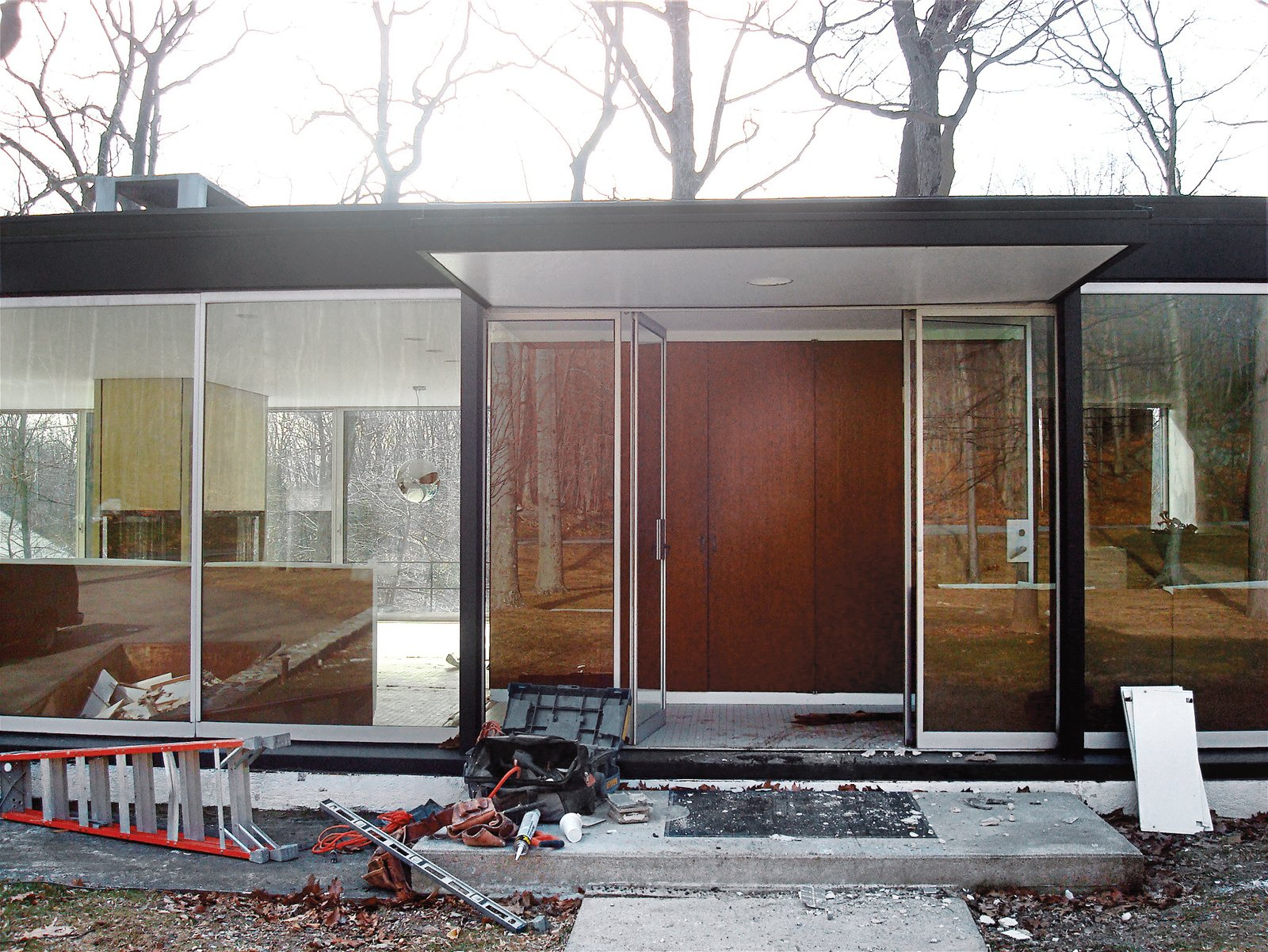 The entry during renovation, before landscaping had begun. Mod Men - Photo 2 of 17