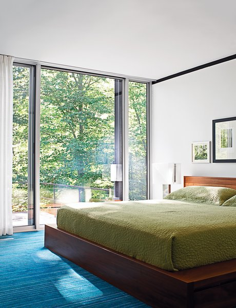 The master suite contains the home's only non-vintage furnishing: a BoConcept bed.