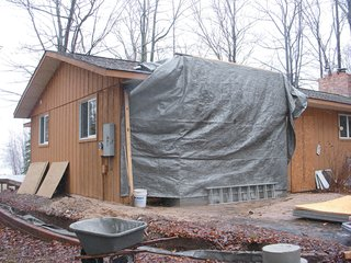 Campbells' Coup - Photo 8 of 12 - The renovation transformed the unassuming building into a modern homage to the northern Michigan lake cabins they had both grown up visiting.