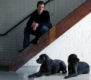 25 Dogs Living in the Modern World - Photo 23 of 25 - Kansas City, Missouri, architect Matthew Hufft with his dogs, Blue and Coltrane.
