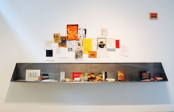 A display from the Emigre at Gallery 16 exhibition, on view at Gallery 16 through January 29, 2010. Image courtesy of Gallery 16.
