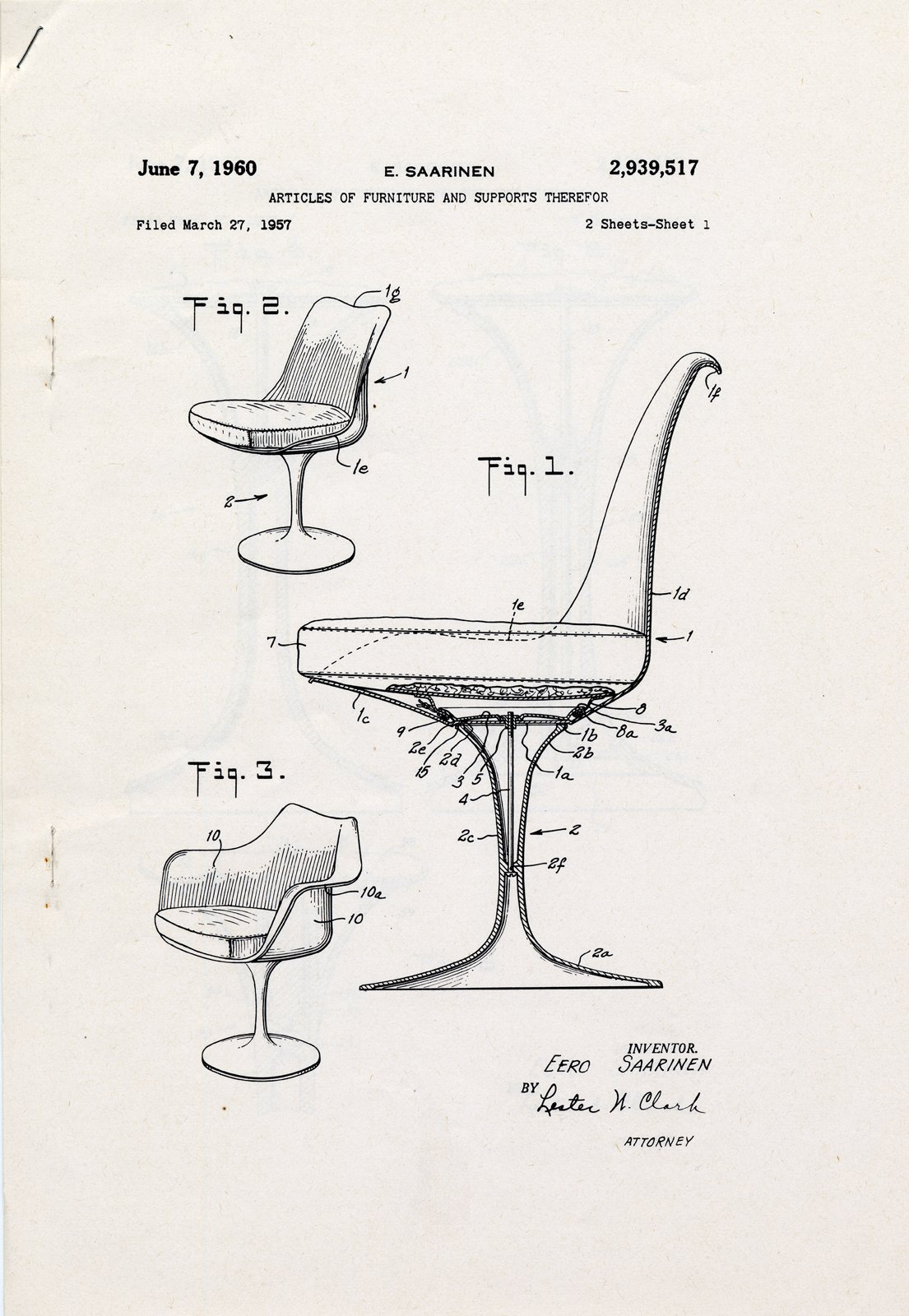 Patent drawing for pedestal chairs (1960) by Eero Saarinen, on display at the Museum of the City of New York through January 31, 2010. Image courtesy of the Eero Saarinen Collection at Yale University and the Finnish Cultural Institute in New York.  Photo 3 of 15 in Events this Weekend: 1.28-1.31